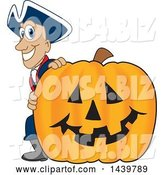 Vector Illustration of a Cartoon Patriot Mascot with a Halloween Pumpkin by Toons4Biz