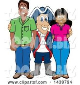 Vector Illustration of a Cartoon Patriot Mascot with Happy Parents or Teachers by Toons4Biz