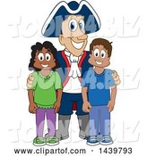 Vector Illustration of a Cartoon Patriot Mascot with Happy Students by Toons4Biz