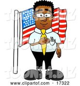 Vector Illustration of a Cartoon Patriotic Black Business Man Mascot Pledging Allegiance to an American Flag by Toons4Biz