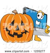 Vector Illustration of a Cartoon PC Computer Mascot and a Halloween Pumpkin by Toons4Biz