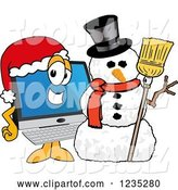Vector Illustration of a Cartoon PC Computer Mascot by a Christmas Snowman by Toons4Biz