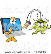 Vector Illustration of a Cartoon PC Computer Mascot Catching a Virus by Toons4Biz