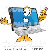 Vector Illustration of a Cartoon PC Computer Mascot Holding a Pencil by Toons4Biz