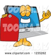 Vector Illustration of a Cartoon PC Computer Mascot Holding a Price Tag by Toons4Biz