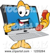 Vector Illustration of a Cartoon PC Computer Mascot Holding and Pointing to a Phone by Toons4Biz