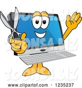Vector Illustration of a Cartoon PC Computer Mascot Holding Scissors by Toons4Biz