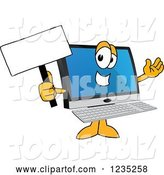 Vector Illustration of a Cartoon PC Computer Mascot Holding up a Blank Sign by Toons4Biz
