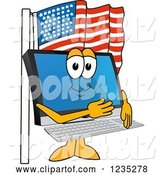 Vector Illustration of a Cartoon PC Computer Mascot Pledging Allegiance to the American Flag by Toons4Biz