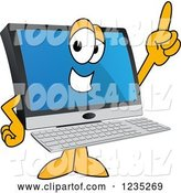 Vector Illustration of a Cartoon PC Computer Mascot Pointing up by Toons4Biz