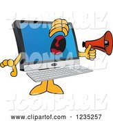 Vector Illustration of a Cartoon PC Computer Mascot Screaming into a Megaphone by Toons4Biz