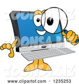 Vector Illustration of a Cartoon PC Computer Mascot Searching with a Magnifying Glass by Toons4Biz