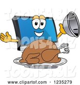 Vector Illustration of a Cartoon PC Computer Mascot Serving a Thanksgiving Turkey by Toons4Biz