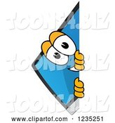 Vector Illustration of a Cartoon PC Computer Mascot Smiling Around a Sign by Toons4Biz