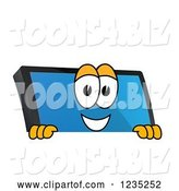 Vector Illustration of a Cartoon PC Computer Mascot Smiling over a Sign by Toons4Biz