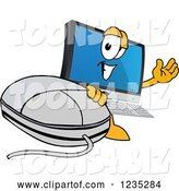Vector Illustration of a Cartoon PC Computer Mascot Waving by a Mouse by Toons4Biz