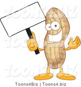 Vector Illustration of a Cartoon Peanut Mascot Holding a Blank Sign by Toons4Biz