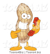 Vector Illustration of a Cartoon Peanut Mascot Holding a Phone by Toons4Biz