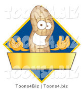 Vector Illustration of a Cartoon Peanut Mascot Logo with a Blue Diamond and Gold Banner by Toons4Biz