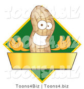 Vector Illustration of a Cartoon Peanut Mascot Logo with a Green Diamond and Gold Banner by Toons4Biz