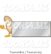 Vector Illustration of a Cartoon Peanut Mascot Logo with a Silver Plaque by Toons4Biz