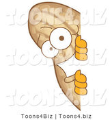 Vector Illustration of a Cartoon Peanut Mascot Looking Around a Blank Sign by Toons4Biz