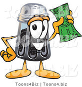 Vector Illustration of a Cartoon Pepper Shaker Mascot Holding a Dollar Bill by Toons4Biz