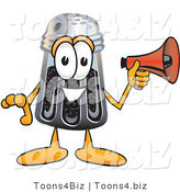 Vector Illustration of a Cartoon Pepper Shaker Mascot Holding a Megaphone by Toons4Biz