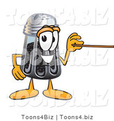 Vector Illustration of a Cartoon Pepper Shaker Mascot Holding a Pointer Stick by Toons4Biz