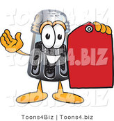 Vector Illustration of a Cartoon Pepper Shaker Mascot Holding a Red Sales Price Tag by Toons4Biz
