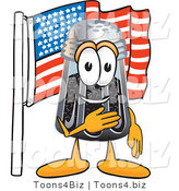 Vector Illustration of a Cartoon Pepper Shaker Mascot Pledging Allegiance to an American Flag by Toons4Biz