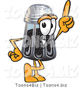 Vector Illustration of a Cartoon Pepper Shaker Mascot Pointing Upwards by Toons4Biz
