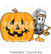 Vector Illustration of a Cartoon Pepper Shaker Mascot with a Carved Halloween Pumpkin by Toons4Biz