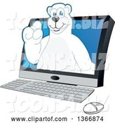 Vector Illustration of a Cartoon Polar Bear School Mascot Emerging from a Desktop Computer by Toons4Biz