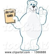 Vector Illustration of a Cartoon Polar Bear School Mascot Holding a Report Card by Toons4Biz
