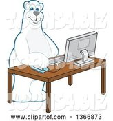 Vector Illustration of a Cartoon Polar Bear School Mascot Using a Desktop Computer by Toons4Biz