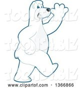 Vector Illustration of a Cartoon Polar Bear School Mascot Walking and Waving by Toons4Biz