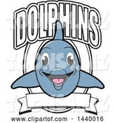 Vector Illustration of a Cartoon Porpoise Dolphin School Mascot Design with a Banner by Toons4Biz