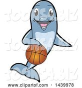 Vector Illustration of a Cartoon Porpoise Dolphin School Mascot Dribbling a Basketball by Toons4Biz
