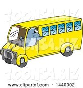 Vector Illustration of a Cartoon Porpoise Dolphin School Mascot Driving a School Bus by Toons4Biz