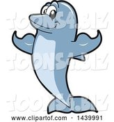 Vector Illustration of a Cartoon Porpoise Dolphin School Mascot Flexing by Toons4Biz