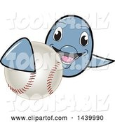 Vector Illustration of a Cartoon Porpoise Dolphin School Mascot Grabbing a Baseball by Toons4Biz