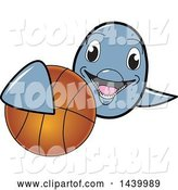 Vector Illustration of a Cartoon Porpoise Dolphin School Mascot Grabbing a Basketball by Toons4Biz