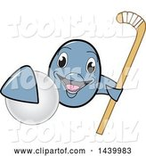 Vector Illustration of a Cartoon Porpoise Dolphin School Mascot Grabbing a Field Hockey Ball and Holding a Stick by Toons4Biz