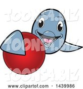 Vector Illustration of a Cartoon Porpoise Dolphin School Mascot Grabbing a Field Hockey Ball by Toons4Biz