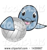 Vector Illustration of a Cartoon Porpoise Dolphin School Mascot Grabbing a Volleyball by Toons4Biz