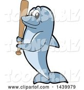 Vector Illustration of a Cartoon Porpoise Dolphin School Mascot Holding a Baseball Bat by Toons4Biz