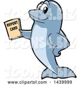 Vector Illustration of a Cartoon Porpoise Dolphin School Mascot Holding a Report Card by Toons4Biz
