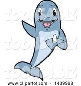 Vector Illustration of a Cartoon Porpoise Dolphin School Mascot Holding a Tooth by Toons4Biz