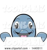Vector Illustration of a Cartoon Porpoise Dolphin School Mascot Looking over a Sign by Toons4Biz